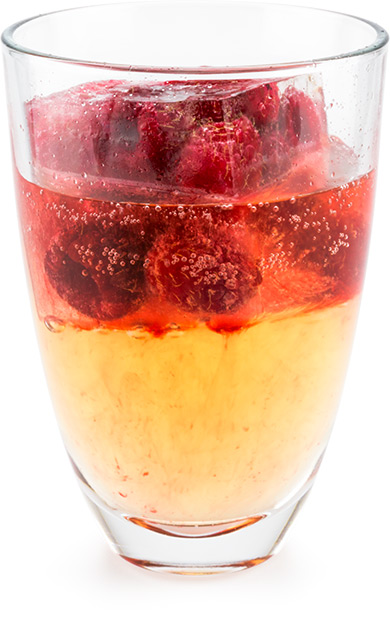 Giant Ice with Raspberries in Ginger Ale