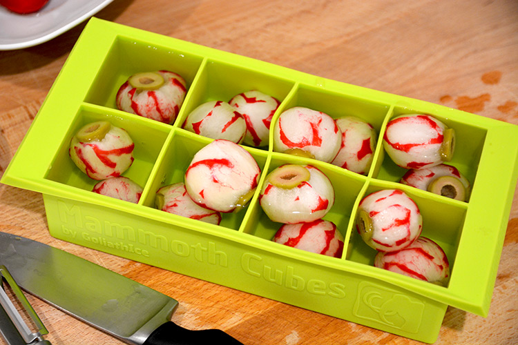 Halloween Eyeball Ice Cubes In Tray With Water